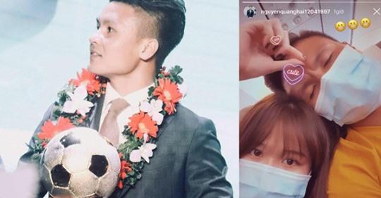 Clip Quang Hải và Huỳnh Anh tình tứ trên máy bay trước giờ dự lễ trao giải quả bóng vàng