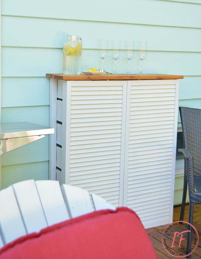 Repurposed Bi-Fold Door Outside Vent Cover Table