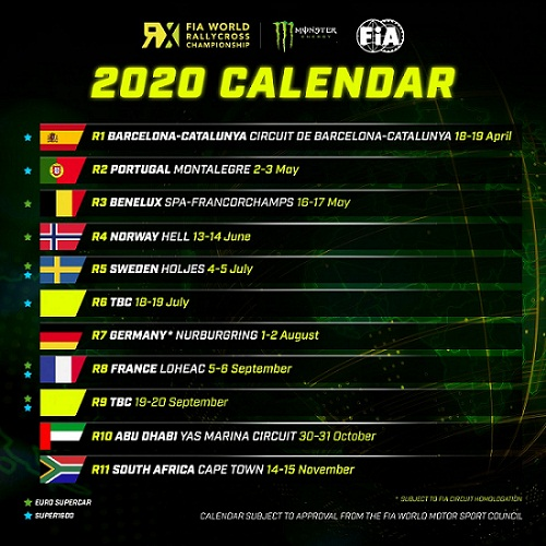 World RX: 2020 World Rallycross Championship calendar: Full schedule dates, venues.