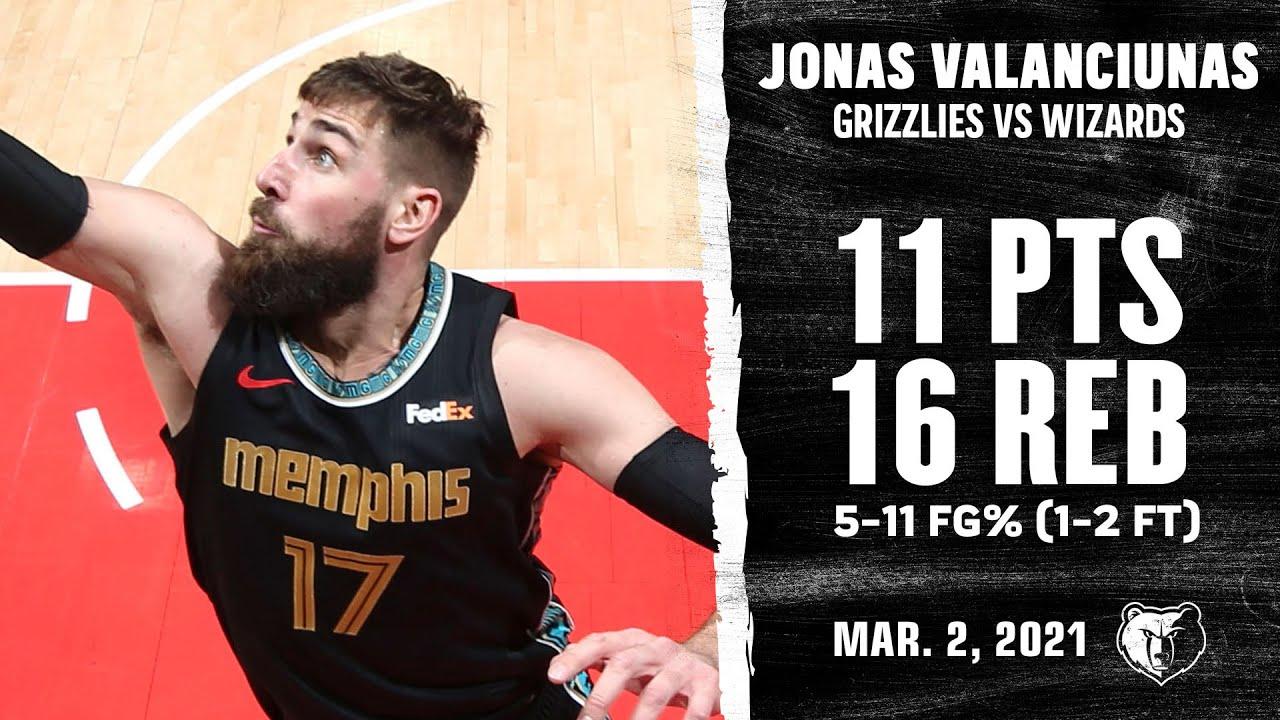 Jonas Valanciunas 11pts 16reb vs WAS   March 2, 2021   2020-21 NBA Season