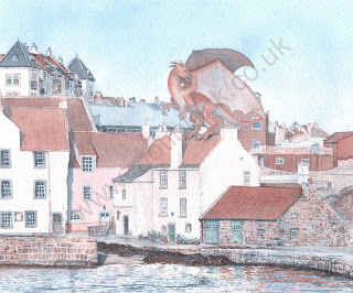 Watercolour painting of a dragon on roof in Pittenweem
