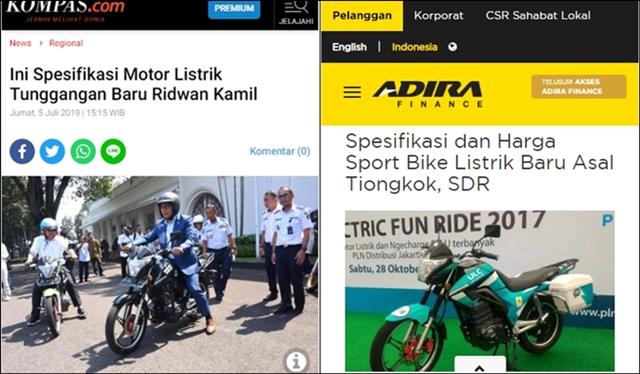 Diaku sebagai Buatan Lokal, Motor Listrik Tunggangan Ridwan Kamil Mirip Produk China