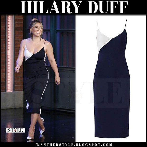 Hilary Duff in black and white midi dress Cushnie et Ochs seth meyer appearance what she wore june 28 2017