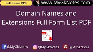 Domain Names and Extensions Full Form List PDF
