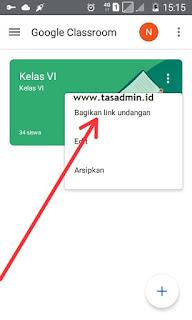 Bagikan link undangan google classroom