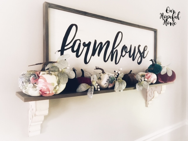 floral velvet pumpkins lambs ear farmhouse script sign