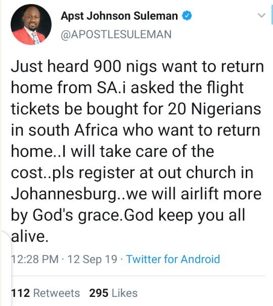 Xenophobic Attacks: Apostle Suleman To Airlift Nigerians From South Africa