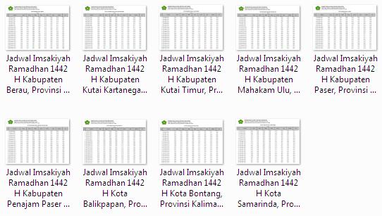 Kumpulan Jadwal Imsakiyah Ramadhan 1442 H Seluruh Kabupaten/Kota di Provinsi Kalimantan Timur