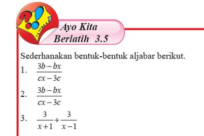 Soal dan Jawaban Ayo Berlatih 3.5 Aljabar Matematika Kelas 7 Halaman 238