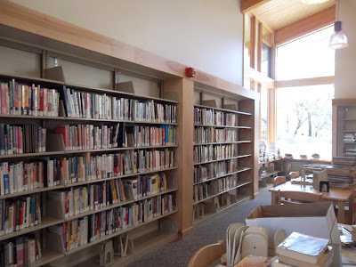 Shelved library books