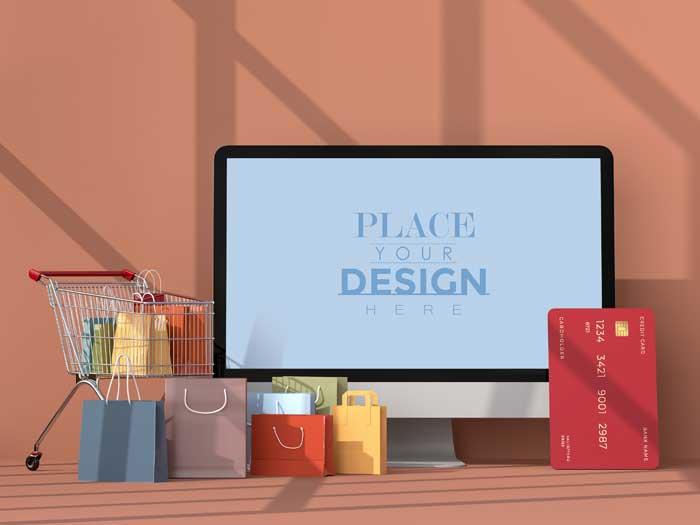 Online Shopping PSD Mockup