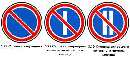Знаки запрета стоянки