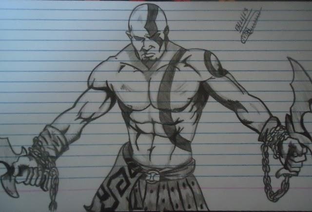 Super Desenhos Feito A Lapis E No Paint Kratos Ou Deus Da Guerra