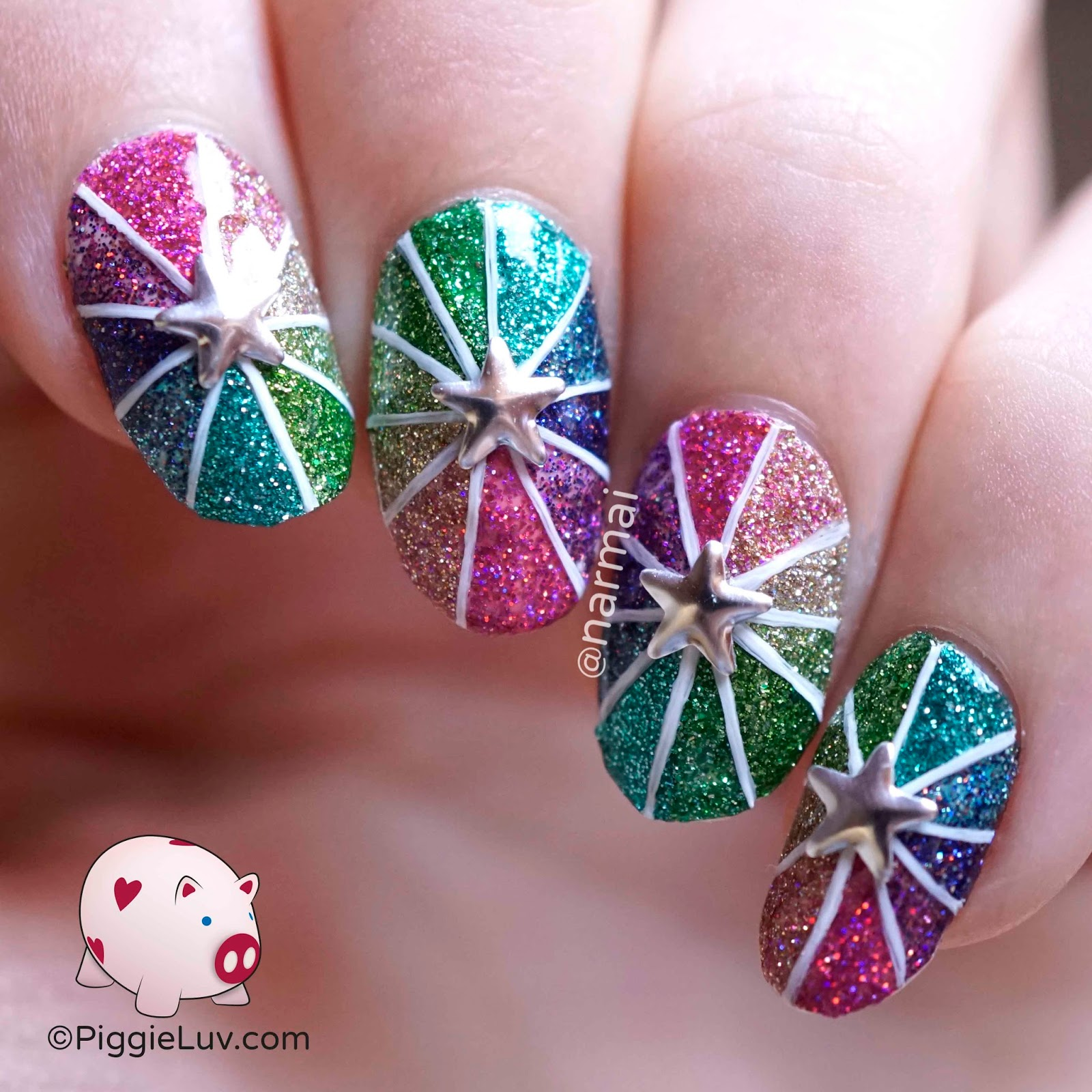 PiggieLuv: Glitter pinwheel nail art