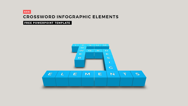 Crossword Puzzles Infographic Elements with 8x8 User's input of blue color for PowerPoint Templates