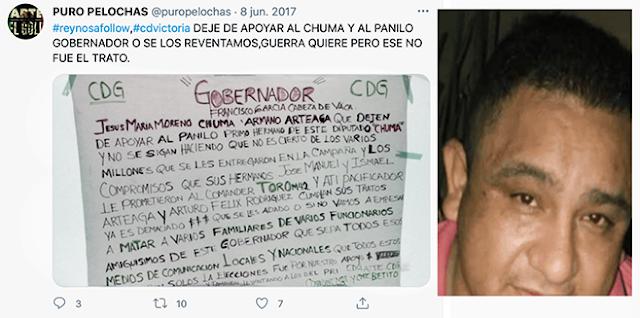 """SENTENCIAN a 11 AÑOS de PRISION al """"PELOCHAS"""" del CDG que RECLAMABA a CABEZA de VACA PROTECCION al """"PANILO PRIMO NARCO del CHUMA PANISTA"""