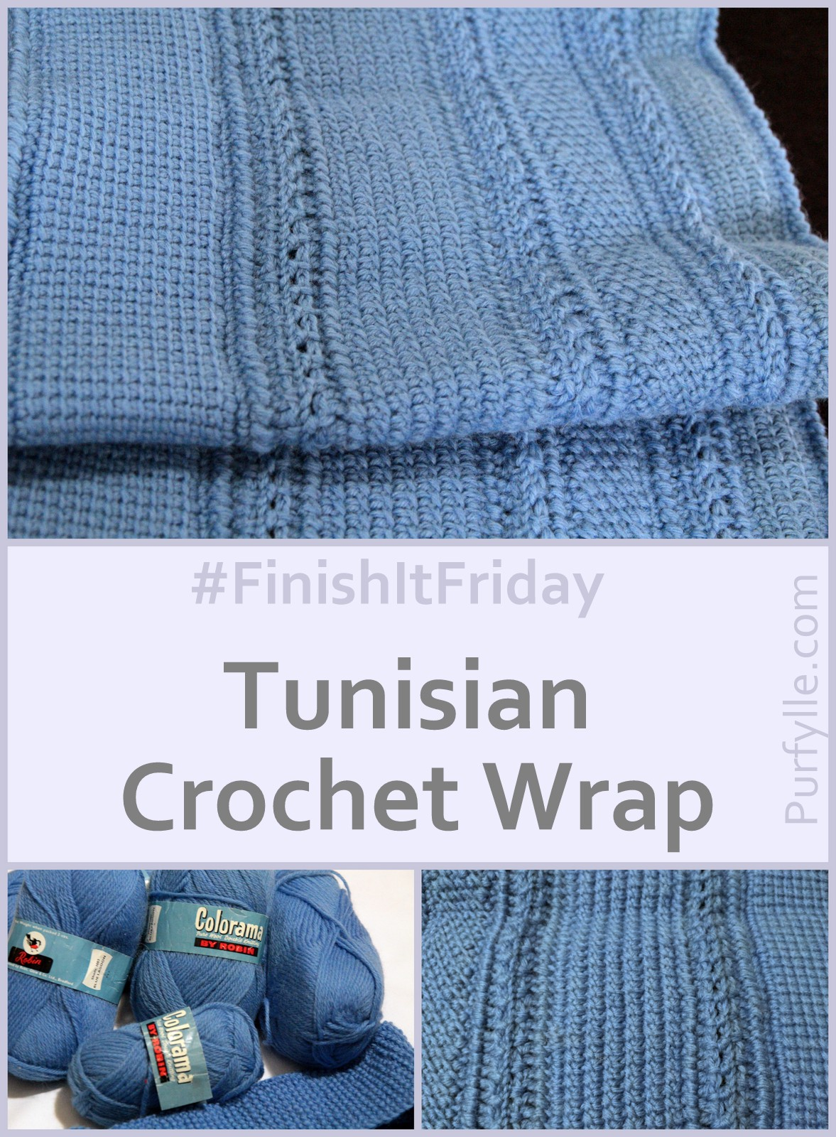 Tunisian Crochet Wrap worked in strips giving a unique textural effect