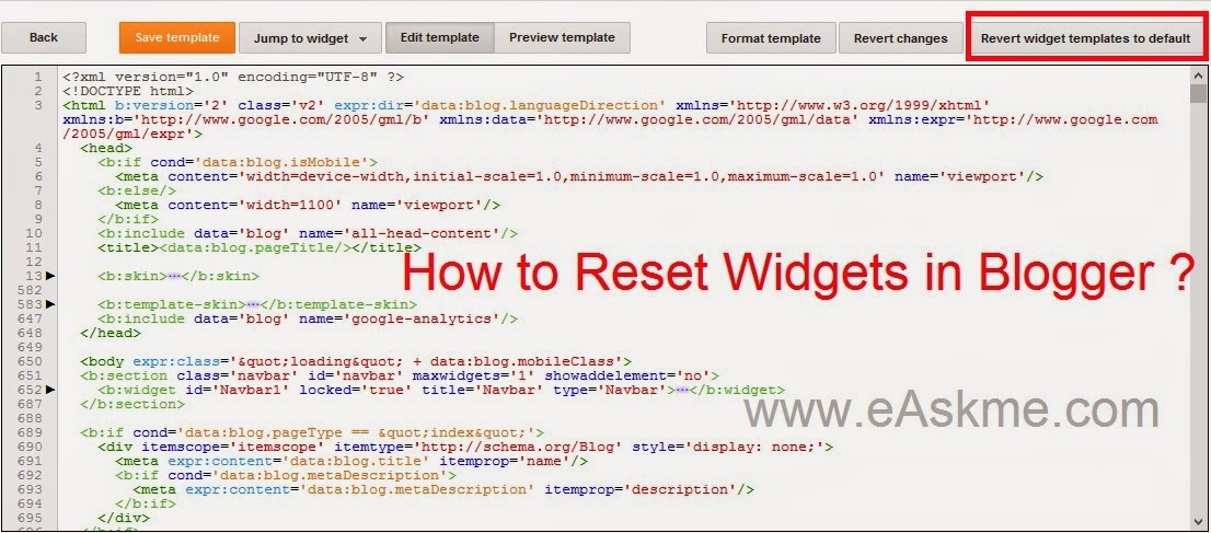 How to Reset Widgets in Blogger : eAskme