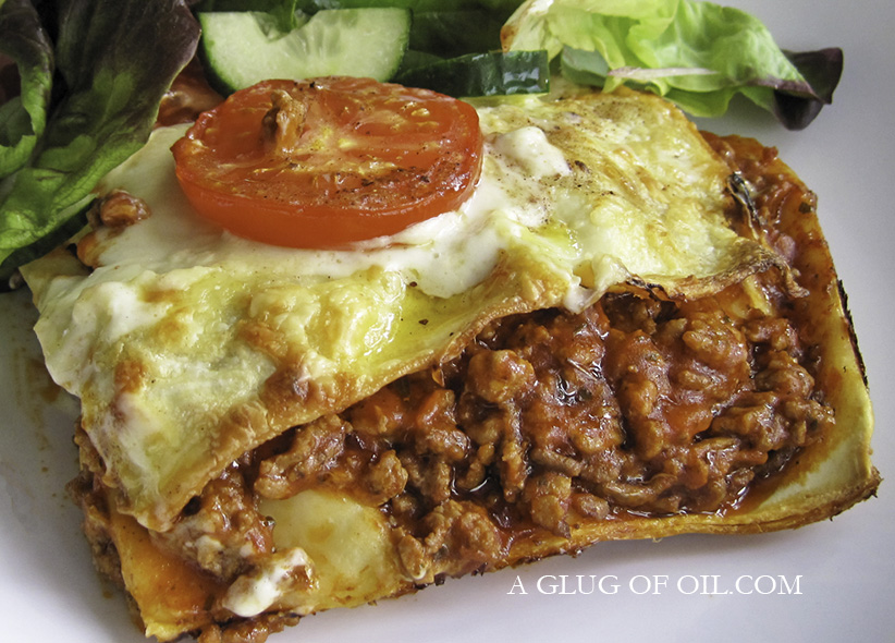 Lasagne with salad
