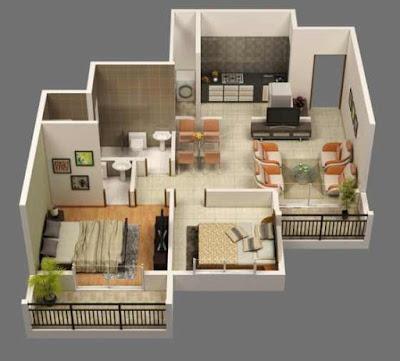 3D open floor plans