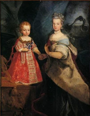 Elisabeth Therese of Lorraine with her eldest son the Duke of Aosta, 1740