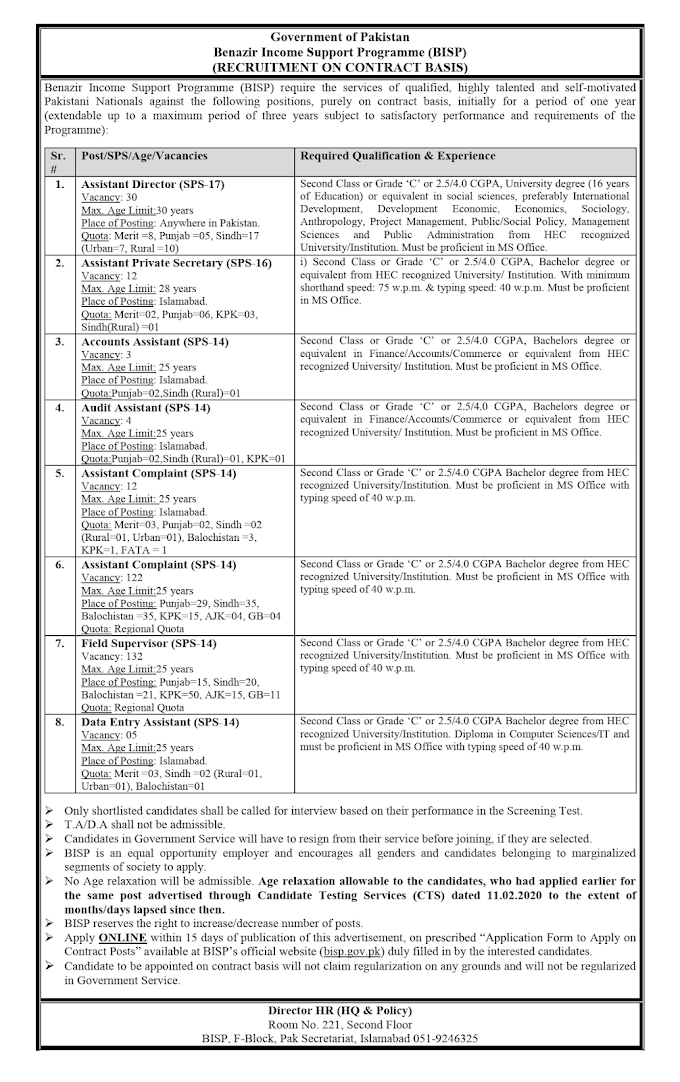 Benazir Income Support Programme BISP Jobs 2021   (320 Posts) Apply Online All Over Pakistan