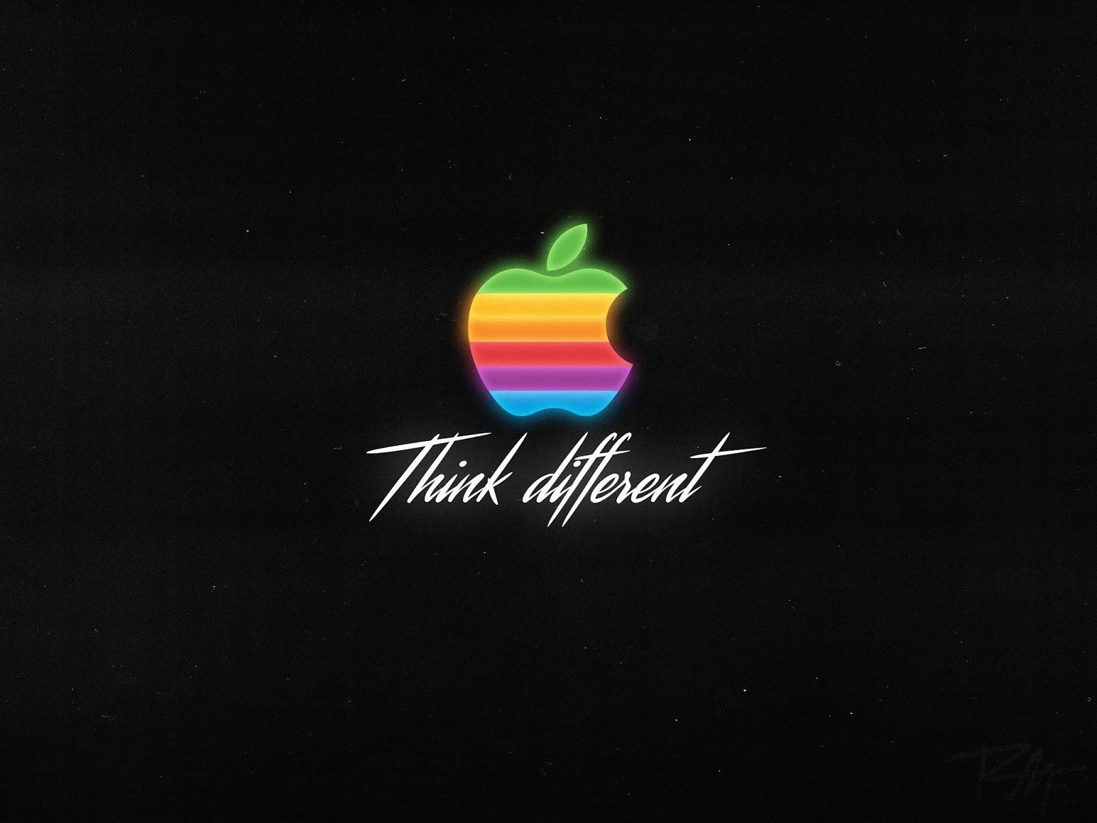 Apple, Think Different, Logo, Dark Background, HD, 4K, Technology