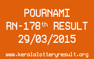 POURNAMI RN 178 Lottery Result 29-3-2015
