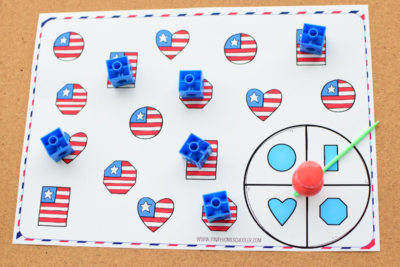4th of July Shapes Spin and Cover