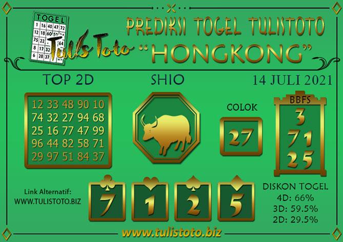 Prediksi Togel HONGKONG TULISTOTO 14 JULI 2021