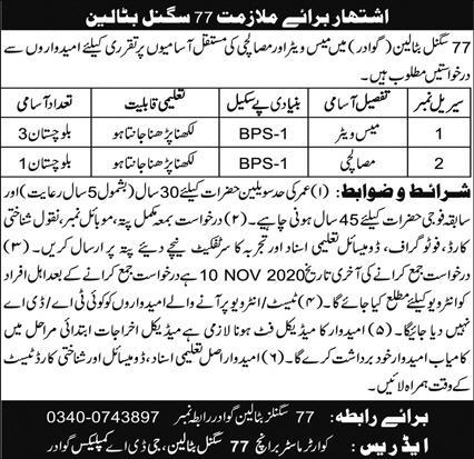Pakistan Army 77 Signal Battalion Job Advertisement in Pakistan Jobs 2021-2022