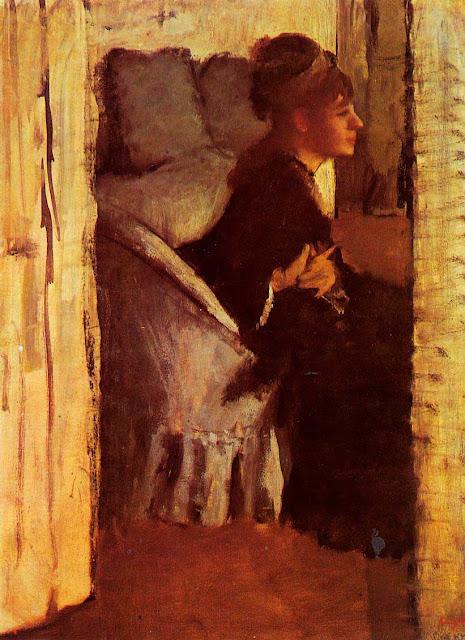Эдгар Дега - Женщина, надевающая перчатки (ок.1877)