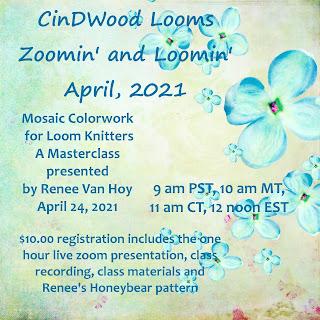 Cindwood Looms Zoomin' and Loomin' April Masterclass: Mosaic Colorwork for Loom Knitters, presented by Renee Van Hoy