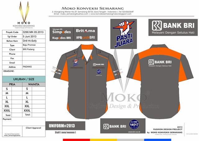 Baju Bengkel kantor Bank BRI - Baju Seragam Kerja Bengkel kantor Bank BRI Padang