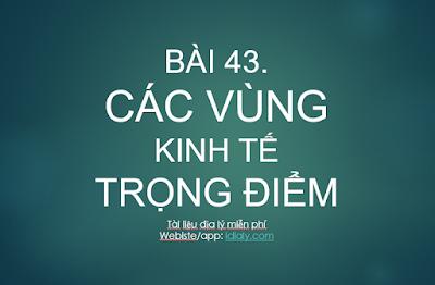 BÀI 43. CÁC VÙNG KINH TẾ TRỌNG ĐIỂM