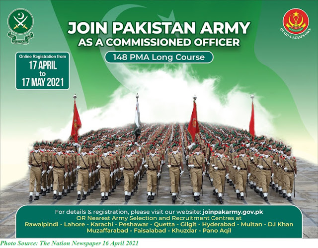 Join Pak Army 2021 as Commissioned Officer PMA Long Course 148 www.joinpakarmy.gov.pk Apply Online
