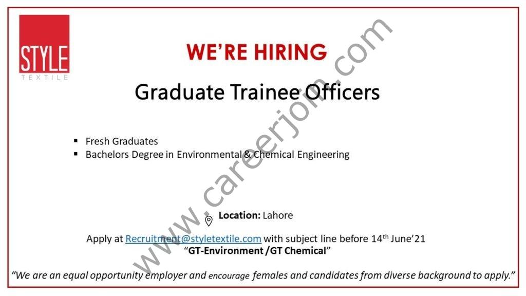 recruitment@styletextile.com - Style Graduate Trainee Program 2021 in Pakistan