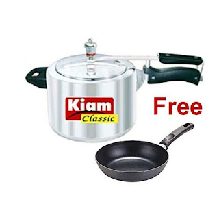 Kiam Classic Pressure Cooker 6.5l With 14cm Non-Stick Fry Pan Free - Silver And Black