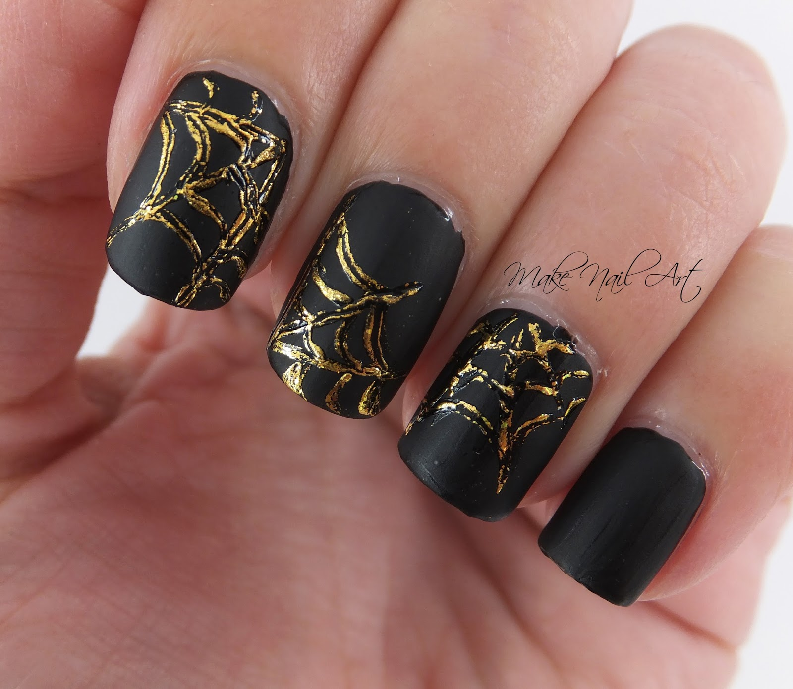 Make Nail Art: Gold Foil Spider Web Halloween Nail Art Design Tutorial