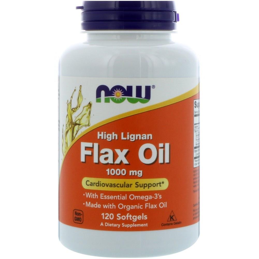 Now Foods, Льняное масло с высоким содержанием лигнана, 1000 мг, 120 мягких таблеток