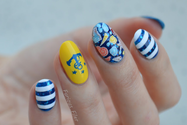 white blue stripes glitter nautical shell decal nails