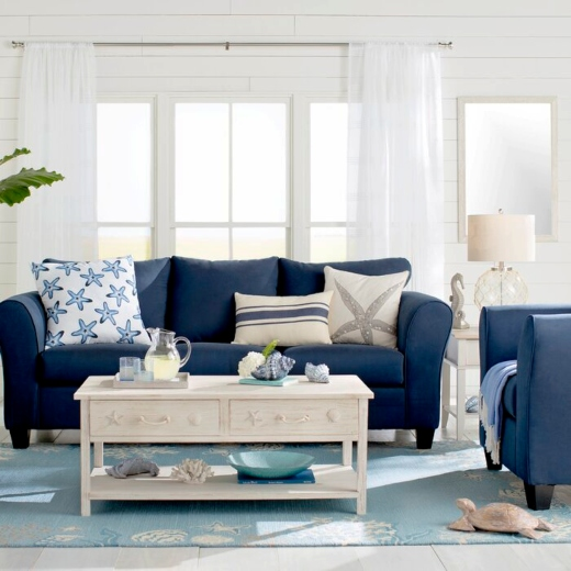 Coastal Living Rooms with Blue Sofas and Area Rugs