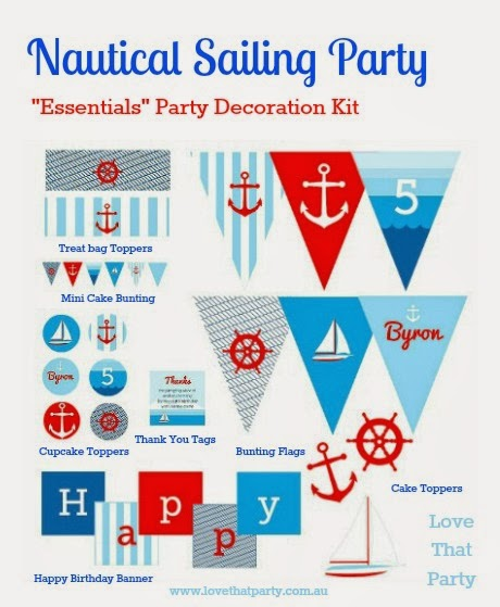 "Nautical Sailing Party ""Essentials"" Printable Decoration Kit"