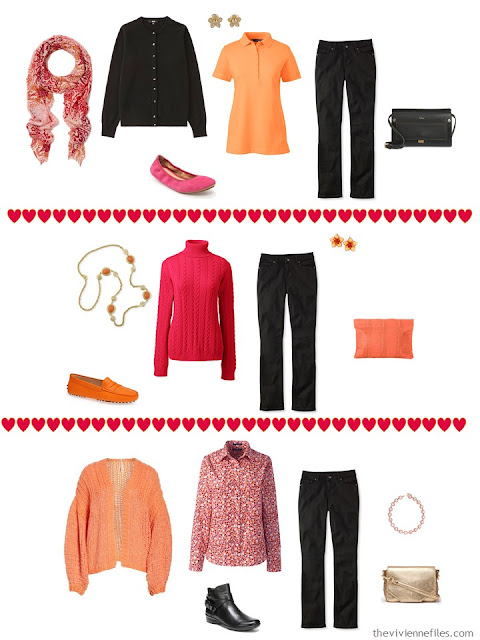 3 ways to wear black jeans from a black, white, orange and hot pink travel capsule wardrobe