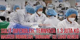 """Sulit Diperoleh, 1.3 juta Kg Masker Indonesia """"Dibuang"""" ke Luar Negeri"""