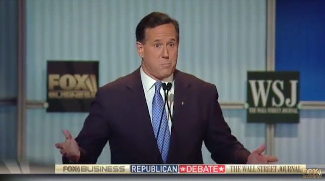Rick Santorum Fox Business Republican debate clueless stressed bewildered stupid