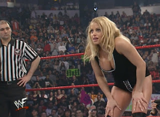 WWE / WWF No Way Out 2001 -  Trish Stratus ready for her match with Stephanie McMahon