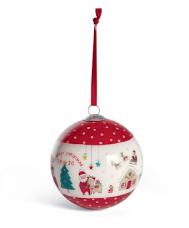 My first Christmas 2020 red and white handpainted bauble