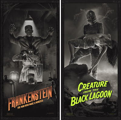 "Universal Monsters ""Frankenstein"" & ""Creature from the Black Lagoon"" Variant Screen Prints by Juan Ramos x Bottleneck Gallery x Vice Press"