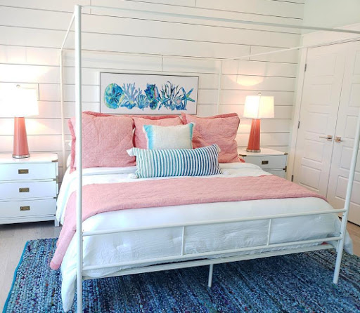 White Metal Poster Bed Coastal Bedroom